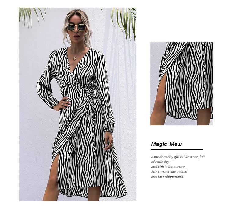 2021 New Arrival Fashion Women Dresses Long Sleeve Wrap Fall Clothes Office Elegant Midi Frocks for Ladies Spring Zebra Stripes