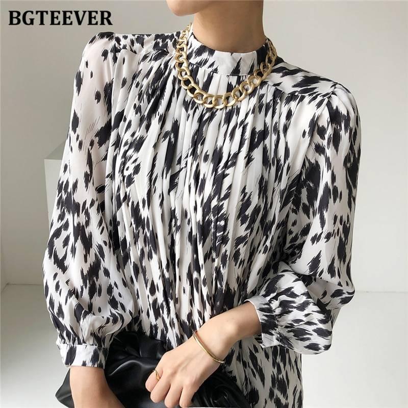 BGTEEVER 2021 Spring New Stand Collar Women Full Sleeve Dress Elegant Hit Color Female Lace-up Printed Midi Dress Vestidos