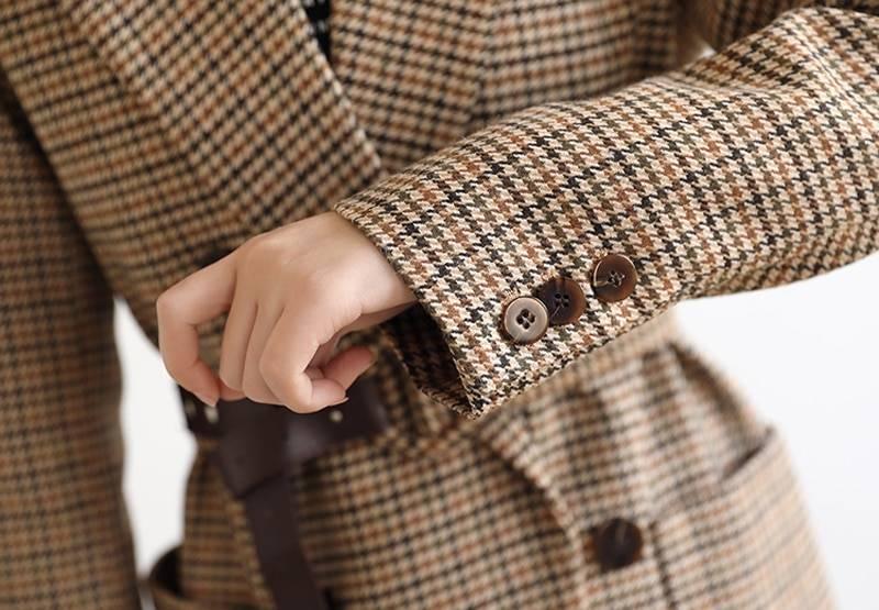 BGTEEVER Vintage Houndstooth Women Blazer Sashes Double-breasted Plaid Female Suit Jacket Long Sleeve Pockets blaser femme 2020