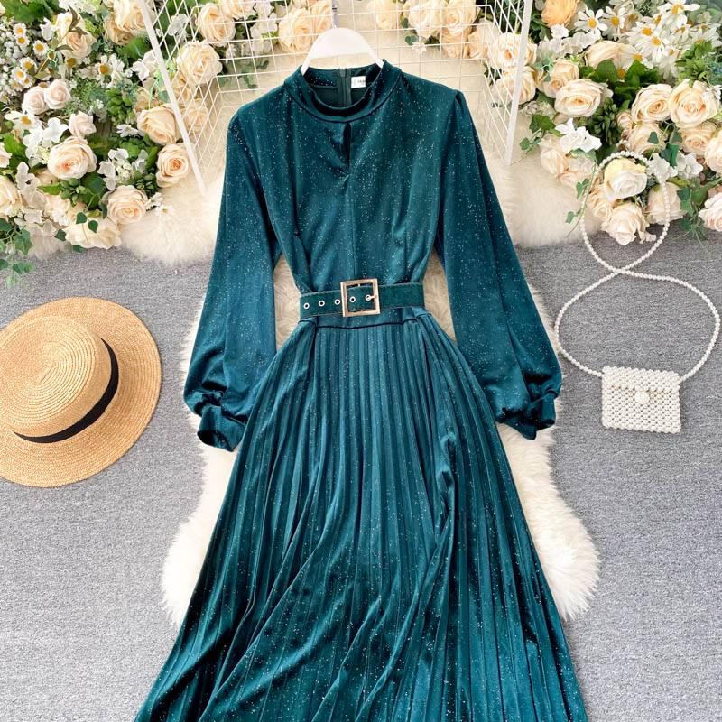 Vintage Velvet Dress Women Elegant Patchwork Pleated Dresses Ladies Long Sleeve with Belt Bandage Party Dress Autumn Long Robe