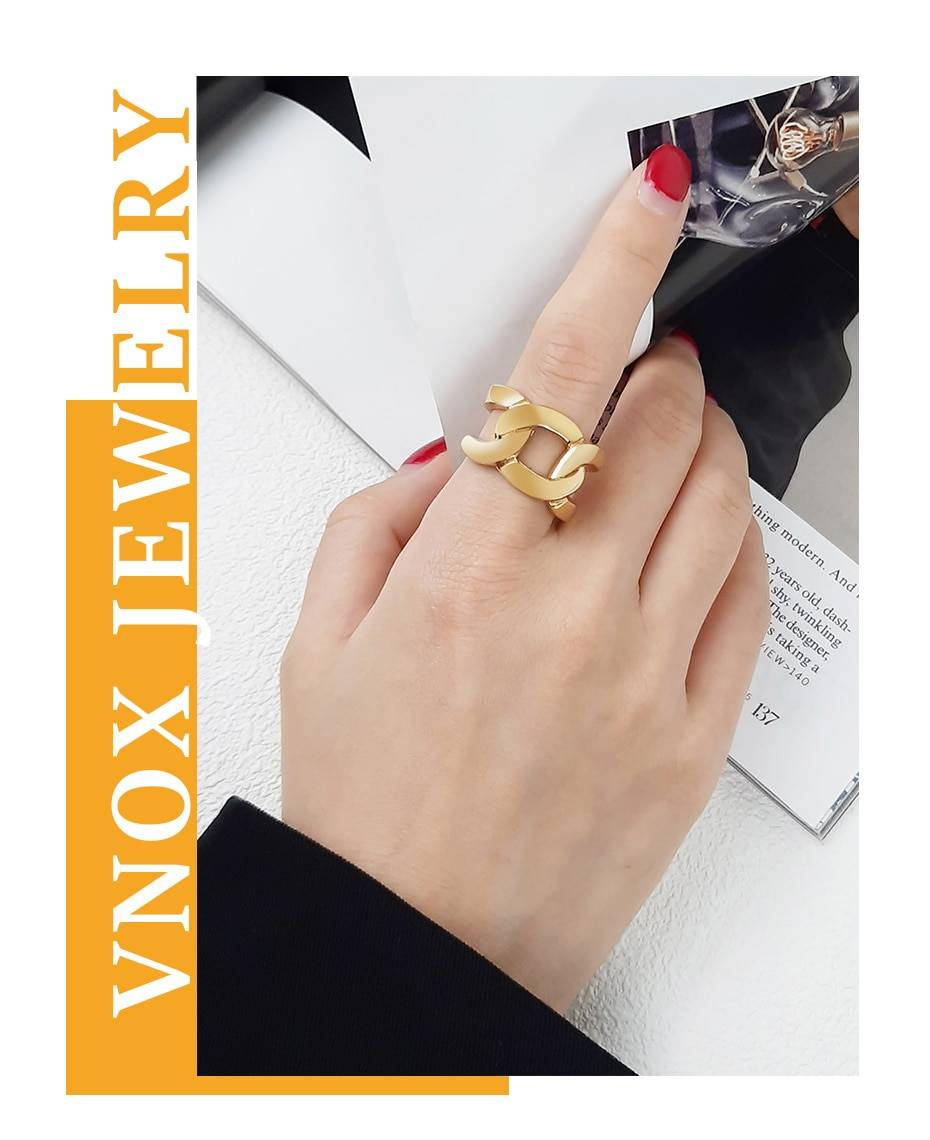 Vnox Cuban Chain Ring for Women,6/7/14mm Gold Color Stainless Steel Wedding Band, Chic Punk Mechanical Curb Link Finger Jewelry