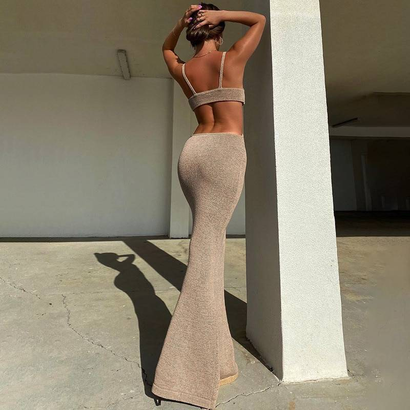 BOOFEENAA Vacation Knitted Maxi Dresses for Women Summer 2021 Elegant Sexy Party Cut Out Backless Bodycon Dress C69-BH27