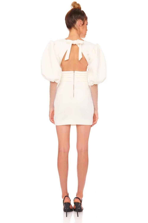 Ocstrade White Bodycon Dress Women Long Sleeve Bodycon Dress New Fashion 2021 Summer Sexy Deep v Neck Backless Club Party Dress