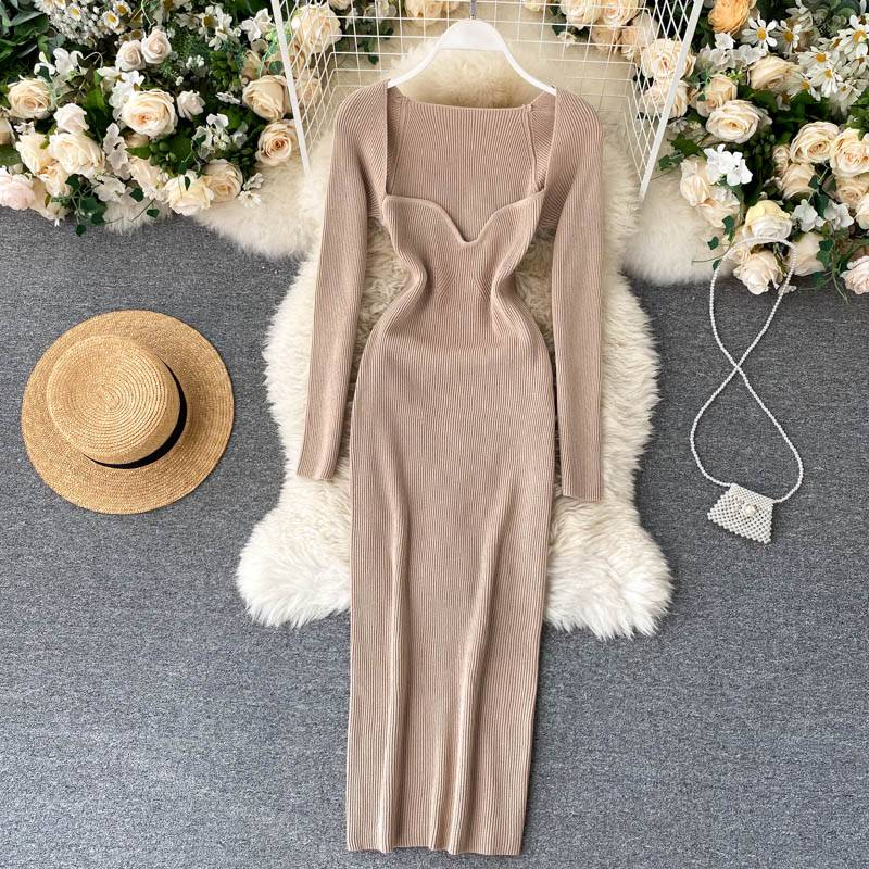Croysier Dresses For Women 2020 Sexy Strapless Ribbed Knitted Bodycon Dress Women Winter Long Sleeve Midi Sweater Dress Clothes