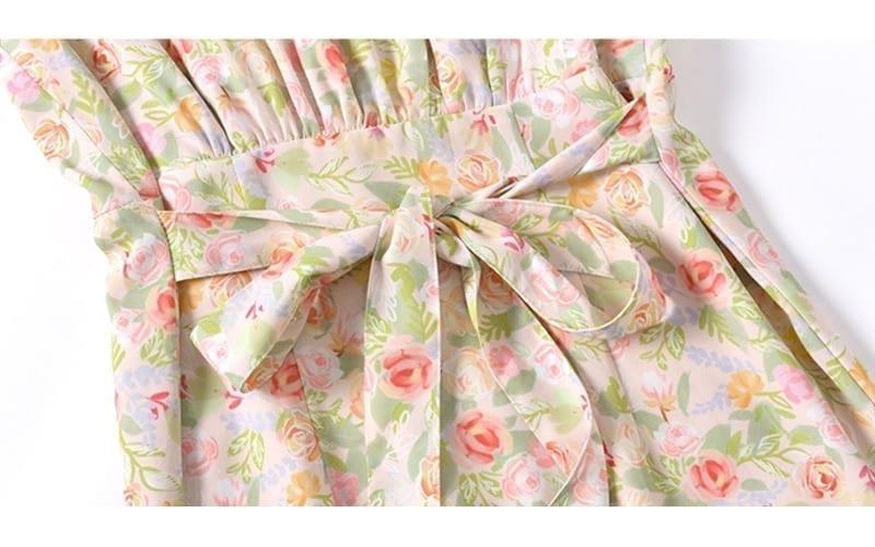 Summer Elegant Floral Print Boho Long Dress Women Puff Sleeve V-Neck Temperament Vintage Party Beach Chiffon Vestidos Femme 2021