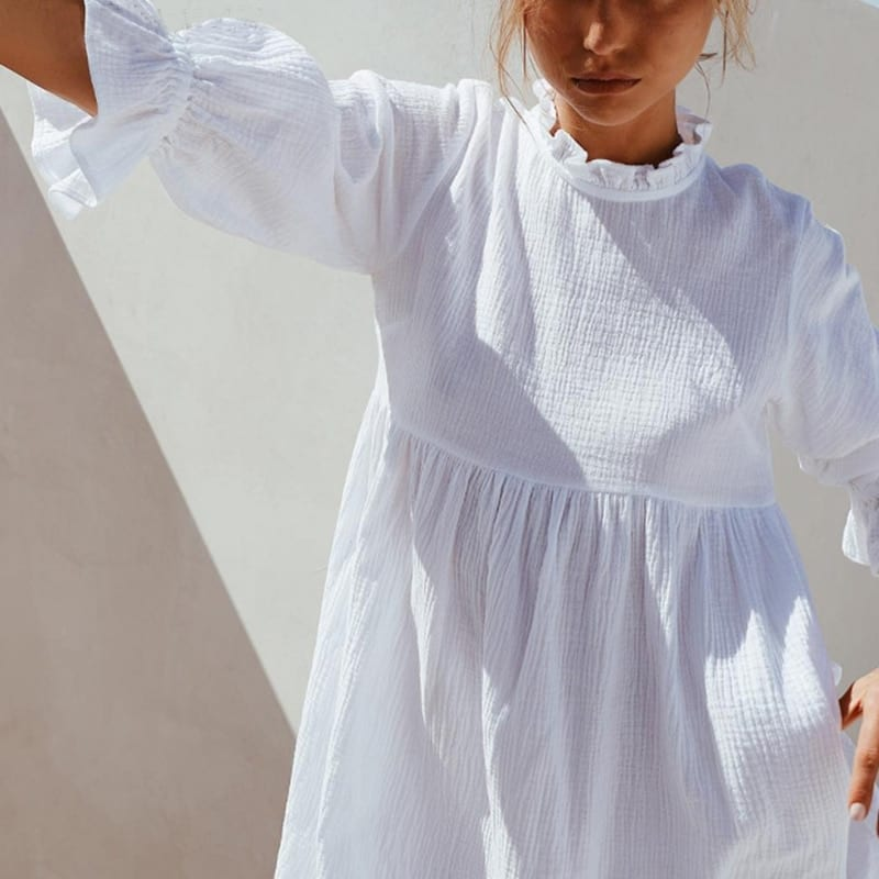 Muiches Casual Stand Collar Flare Sleeve Ruffles Mini Dress Woman Loose High Waist Sweet Cotton White Holiday Dress 2021 Summer