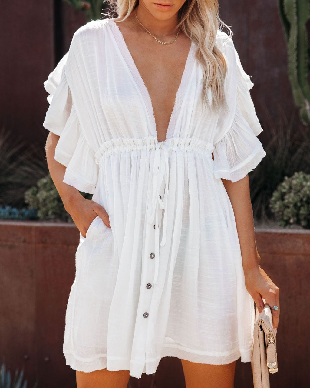 2021 Bikini Cover-ups White Tunic Sexy V-neck Butterfly Sleeve Summer Beach Wear Mini Dress Plus Size Women Swimsuit Cover Up D0