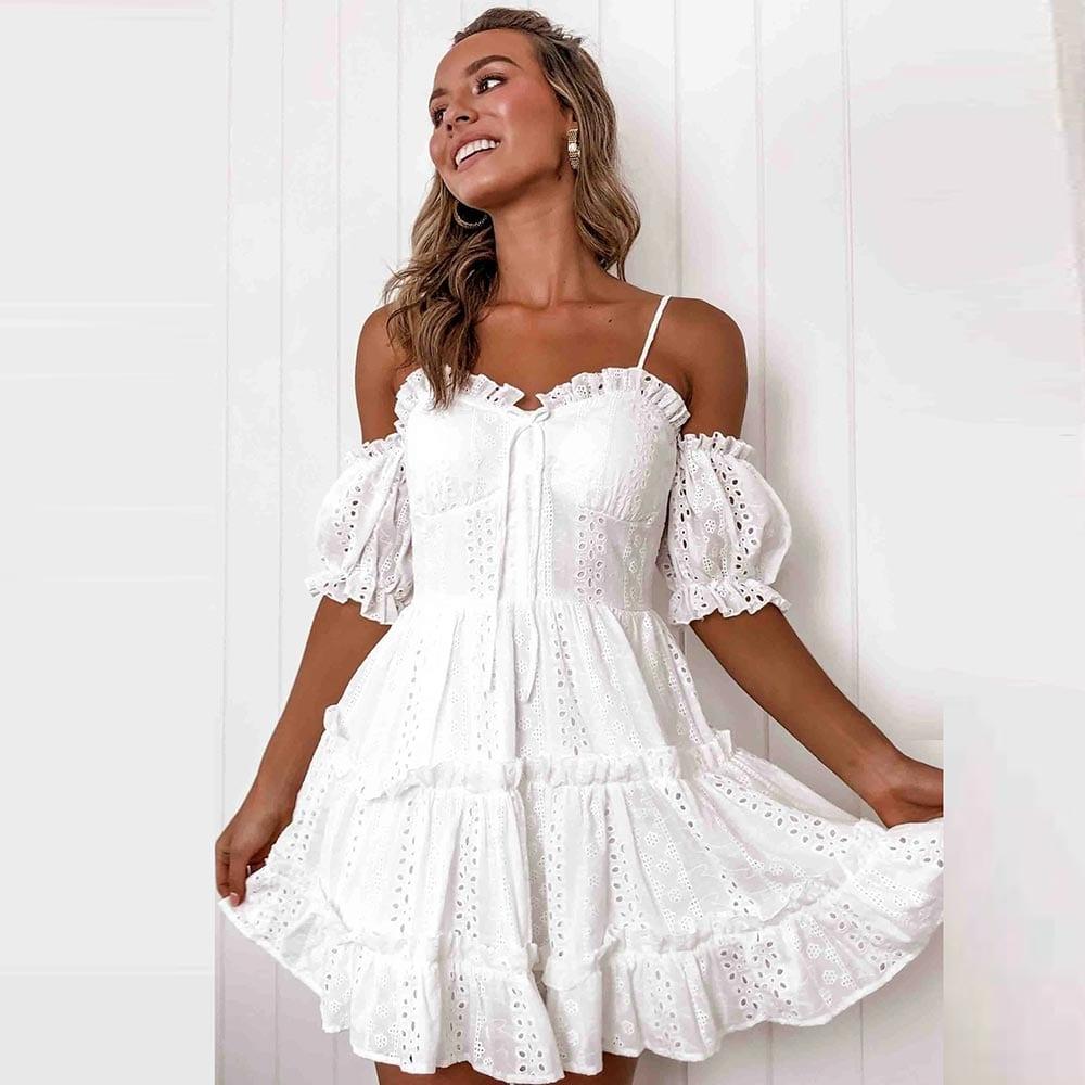 WildPinky Elegant White Pleated Lace Women Dress Sexy Spaghetti Strap Female Ruffle Cotton Dress Summer Beach Ladies Mini Dress