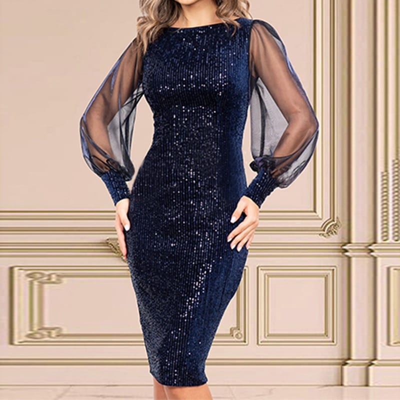 Navy Blue Sequined Midi Dress Long balloon Sleeves Hollow Out O Neck Short Night Party Pencil Dress