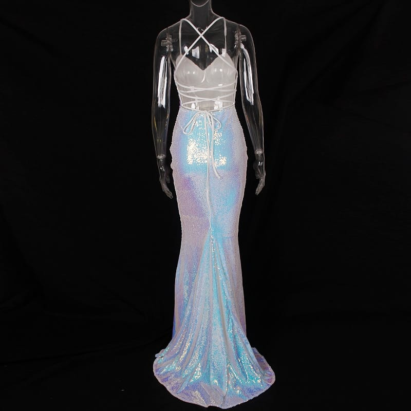 White Shiny Sequined Maxi Dress Split Front Cross Strapes Backless Party Dress Evening Long Gown