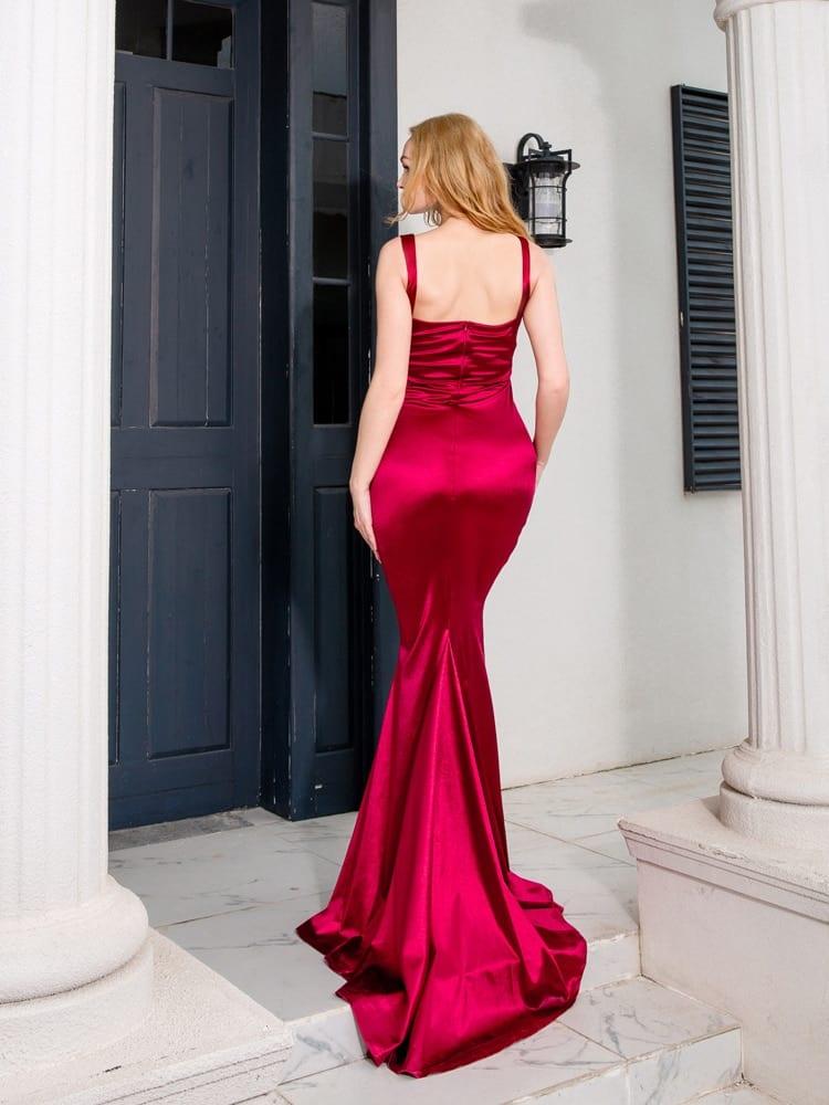 Square Collar Satin Maxi Dress Long Train Mermaid Sleeveless Evening Party Tank Dress Burgundy Black Floor Length Gown
