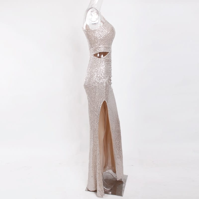 One Shoulder Silver Navy Stretchy Party Dress Sequin Hollow Out Split Leg Floor Length Bydocon Long Dresses