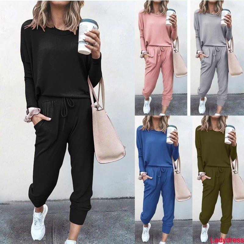 2020 new Autumn 2 Pieces Set Women Elegant Pant Sets Female Casual Outfits Jogger Two Piece Set Korean Sports Suit Black Cotton