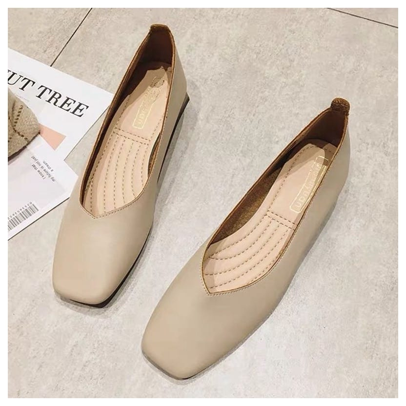 New Spring Flats Shoes Women Wooden Low Heel Ballet Square Toe Shallow Brand Shoe Slip On Loafer zapatos de mujer big size 35-41