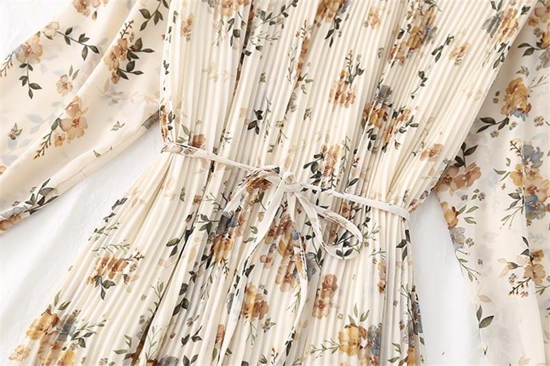 BGTEEVER Spring Stand Collar Floral Print Women Dress Lace Up Female Pleated Dress Summer Party Midi Chiffon Vestidos femme 2021