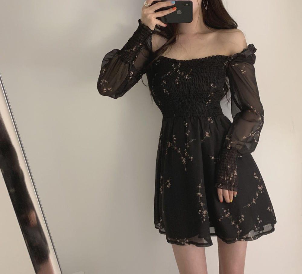 2020 Autumn Womens Sexy Black Dress Vintage Flower Long Puff Sleeve Chiffon Dresses Korean Casual Mini Vestidos Mujer Clothes