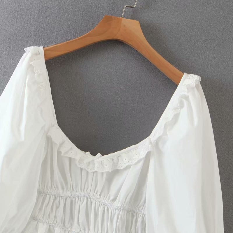 Sexy Lace Trims Elegant White Dress Women Lantern Sleeve Square Neck A-line Mini Summer Party Dresses Short vestido LJPZ9268
