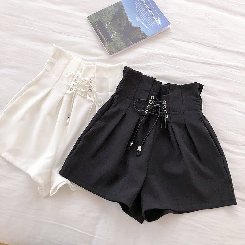 Flectit Summer Shorts Women High Waist Paperbag Lace-Up Lightweight Casual Shorts School Girl Outfit