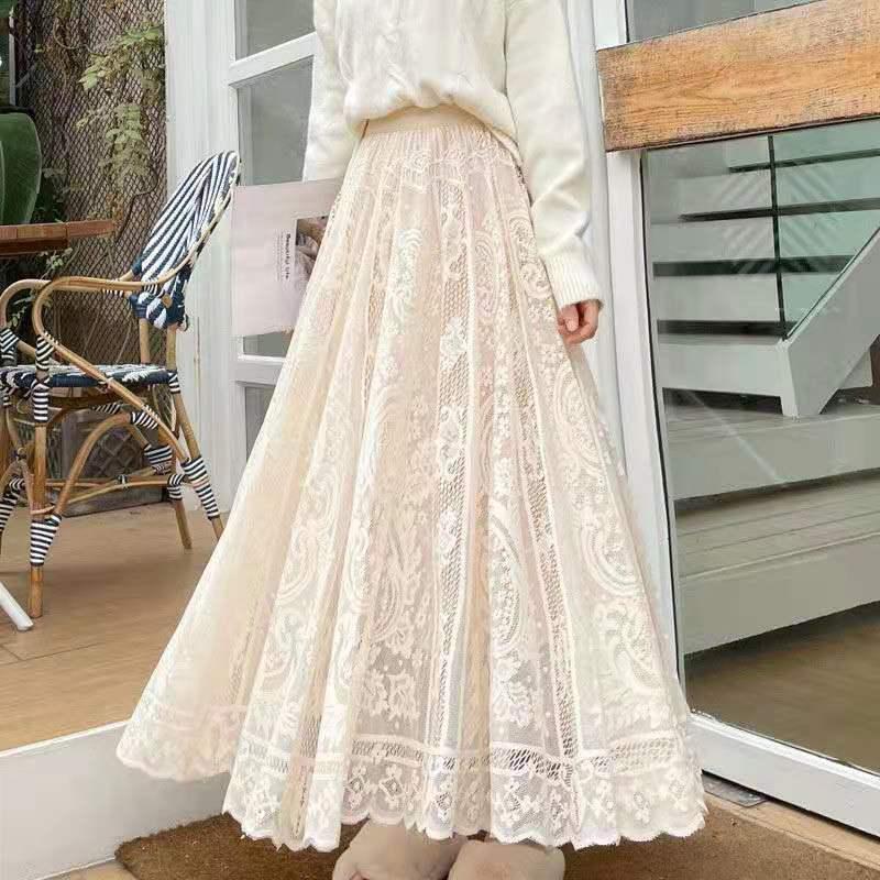Sllsky Elastic Casual High Waist Lace Skirts Women Summer 2021 New Korean A-line Black Fine Sand Net Long Sweet Female Skirt
