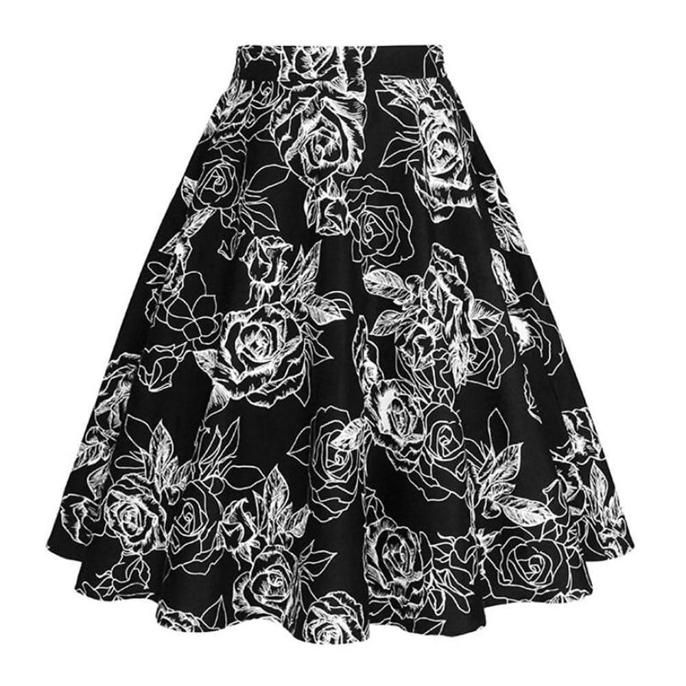2021 New Arrival Summer A Line Vintage Floral Skirt 50s Pin up Style Rockabilly Swing Skirts Women Retro High Waist Midi Skirt