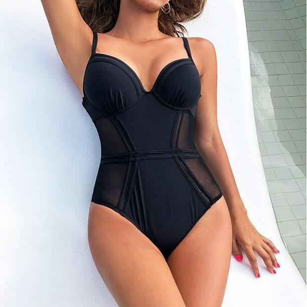 Sexy Black Mesh Push Up One Piece Swimsuit Ladies 2021 Monokini Backless Cut Out Swimwear Women Swim Bathing Suit Trikini