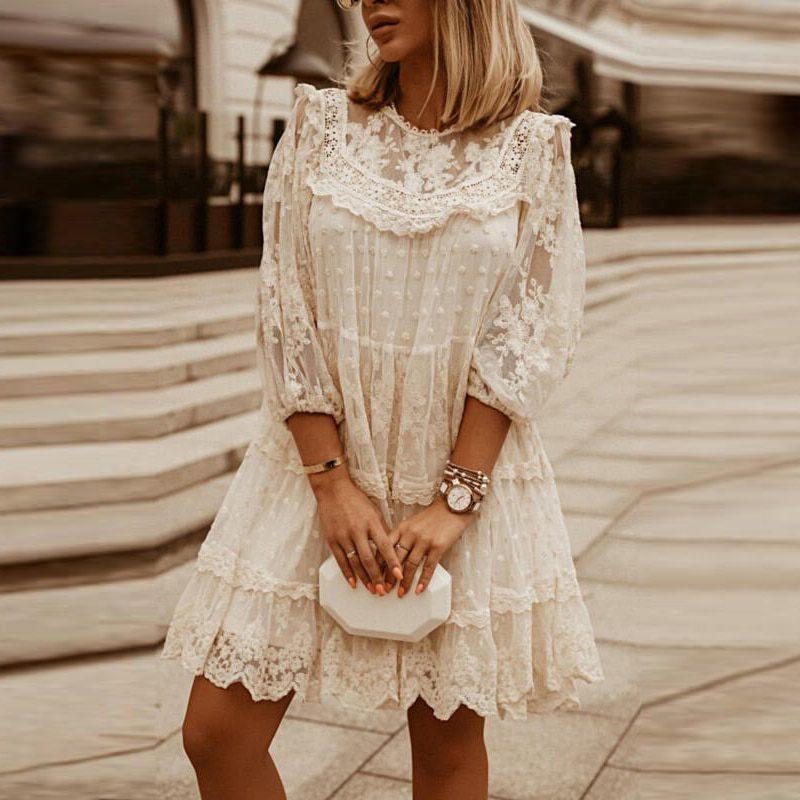 Women Elegant Embroidery Lace Mesh Mini Dress Fashion O-Neck Loose Summer Dress Lady 2021 Vintage 3/4 Sleeve Ruffle Party Dress