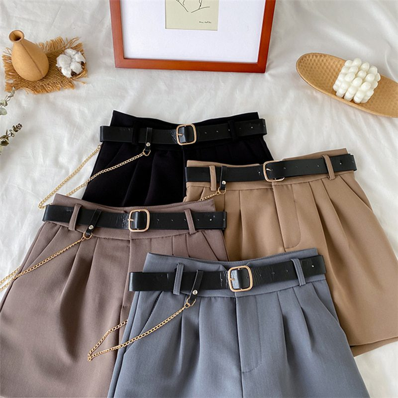 2021 High Waist Thin A-line Suit Shorts Female Wide Legged Korean Style Casual New Short Pants Women's Office Shorts with Belt