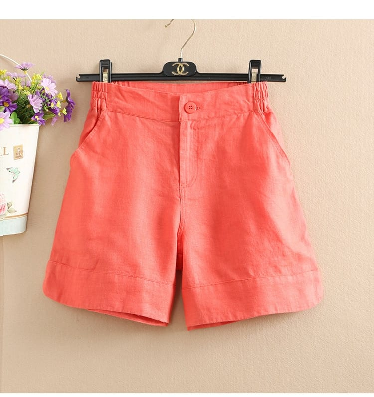 Women Summer Fashion Korea Style Solid Color Wide Leg High Quality Cotton Linen Short Office Lady Casual Loose Harajuku Shorts