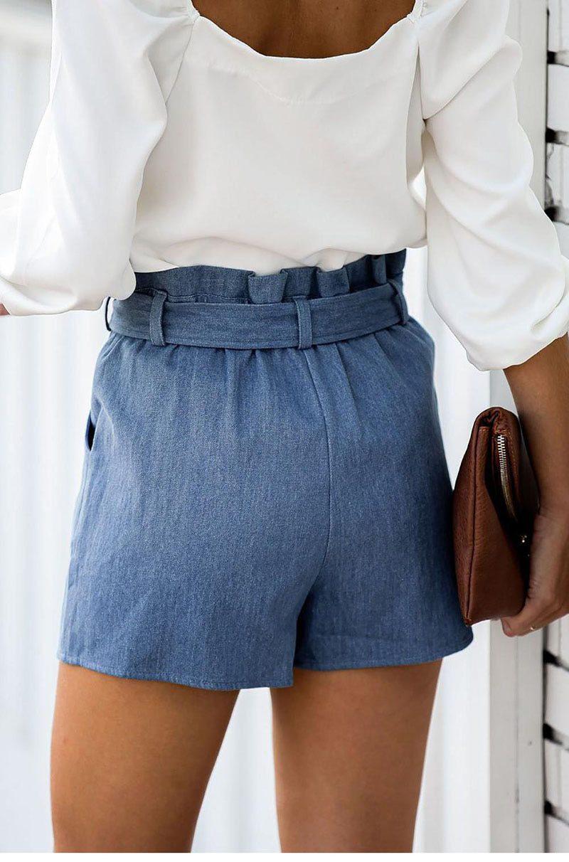 SEBOWEL Summer Woman's Sky Blue Pocketed Denim Sashes Wrapped Skort Female Lady Casual Ruffles Waist Shorts Skirt Size S-XL