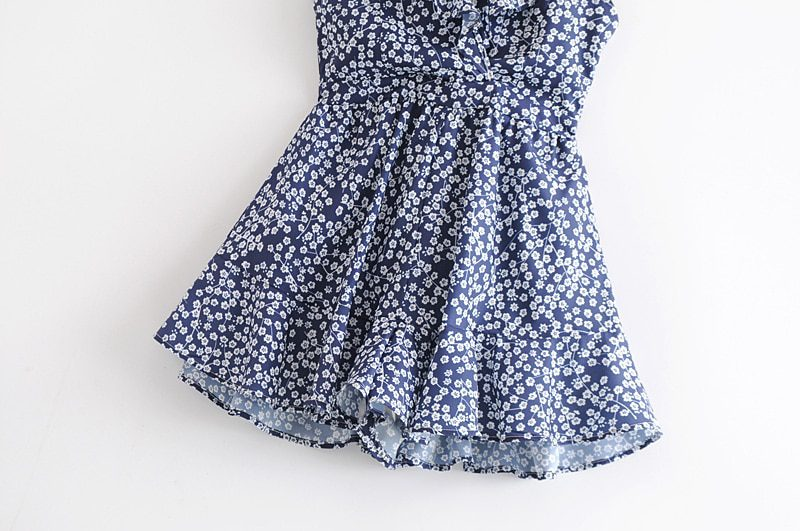 SheMujerSky Sexy Ruffles Sleeveless Playsuit Blue Jumpsuits For Women 2019 Backless Strappy Floral Print Rompers