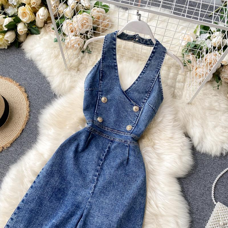 Guilantu Summer Sleeveless Backless Denim Jumpsuits Women V Neck Off Shoulder Wide Leg Jeans Overalls Casual Vintage Long Romper