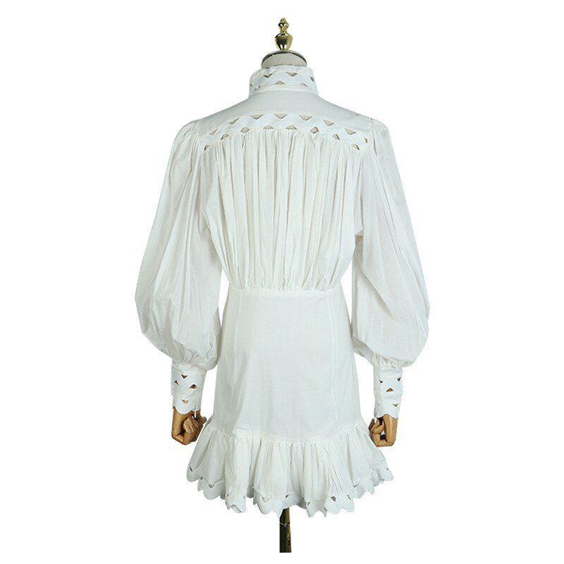 Spring Summer Dress New Fashion 2021 Women Sexy Hollow Out Patchwork Lantern Sleeve Button Black White Shirt Mermaid Mini Dress