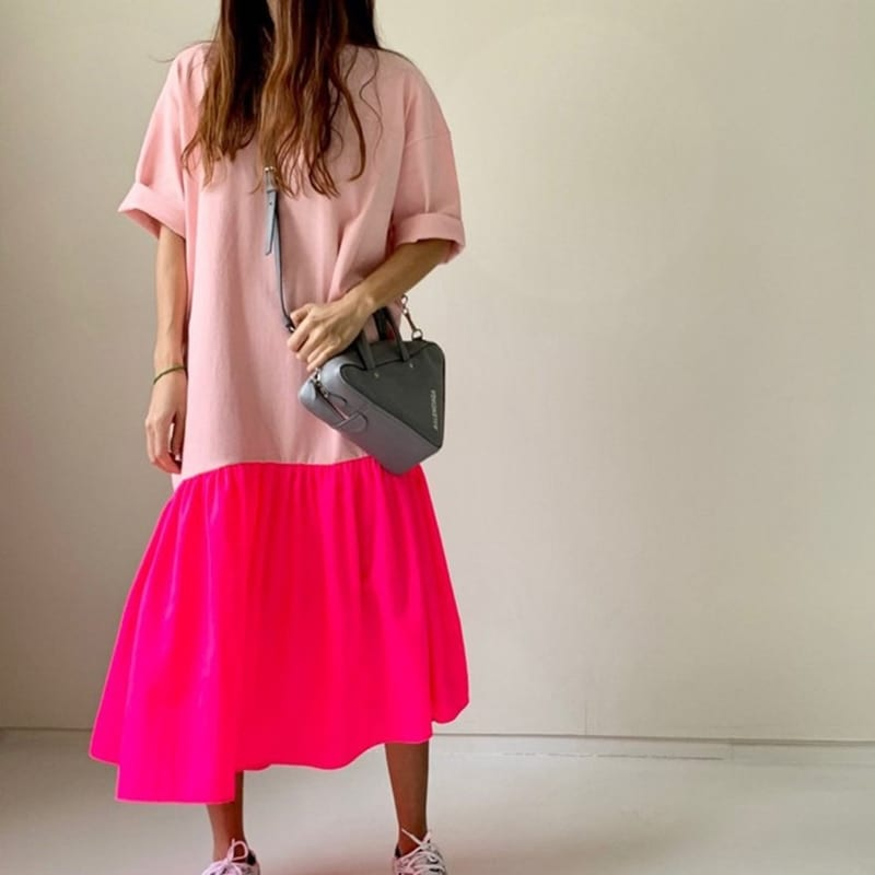 TWOTWINSTYLE short sleeve Summer Dress for Women Fashion Korean Patchwork Hit color Maxi Dresses Casual Dress Girls 2020 New