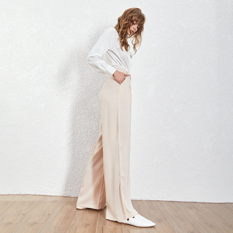 TWOTWNSTYLE Summer Loose Casual Trousers For Women High Waist Maxi Wide Leg Pants Female Elegant 2020 Fashion Clothes New