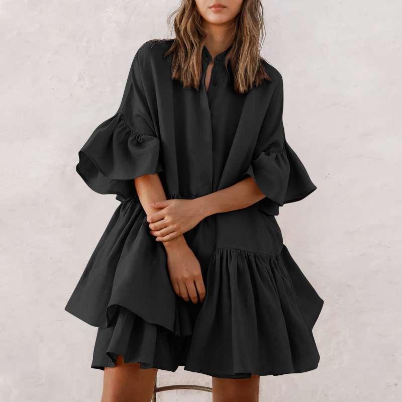 2021 Summer Women Ruffles Mini Dress Celmia Plus Size Fashion O-neck Half Sleeve Casual Loose Shirt Dress Solid Pleated Vestido