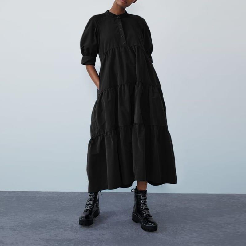 Women's Summer Dress Bohemian Sundress VONDA Vintage Half Lantern Sleeve Swing Party Long Dress Casual Robe Plus Size Vestidos