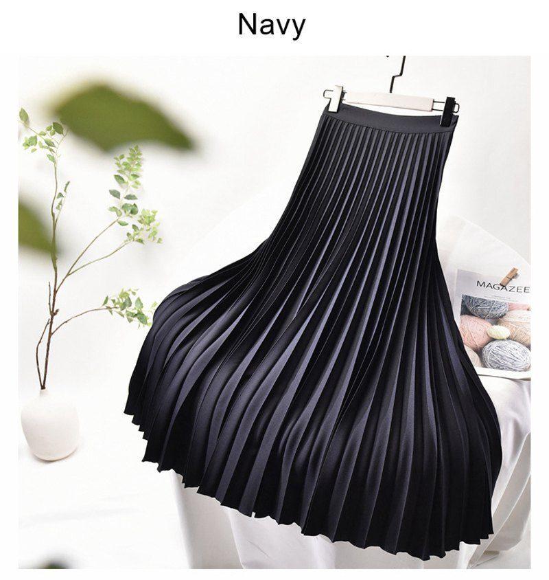 Women's Elegant Sector Pleated Twill Skirt With Chiffon Liner Female High Waist Side Zipper White Long Skirts 2021 Spring SK521