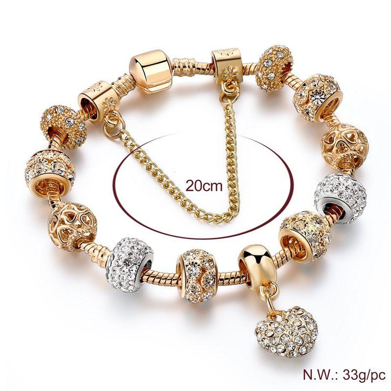 YADA Gifts INS Fashion gold heart Bracelets&Bangles For Women Hot Chain Bracelets Charm Crystal Jewelry Trendy Bracelet BT200176