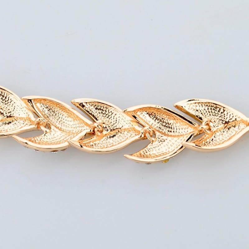 ( INS Cubic Zirconia ) Gold Gold color Leaf Bracelets&Bangles For Women Alloy Bracelets Luxury Crystal Jewelry Bracelet BT200242
