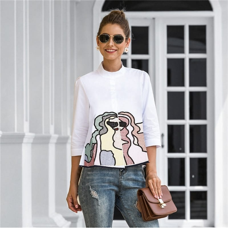 Spring Summer Embroidery Print Blouses Women Casual Three Quarter Sleeve Fashion Blouse Shirt Top For Women 2021 New