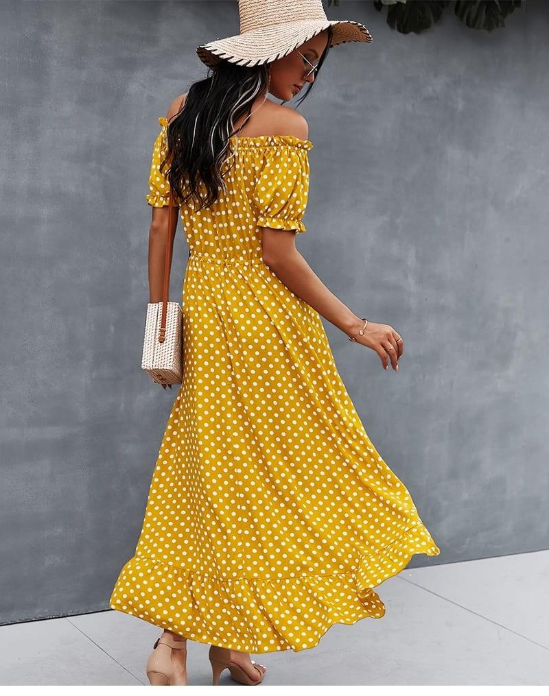Spring 2021 New Ladies Dot Polka Print Dress Women Tassel Button Off The Shoulder Dress For Woman Sexy Slash Neck Summer Dress