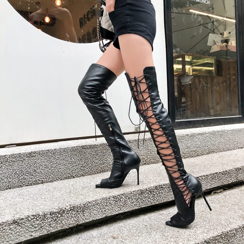 Sexy women knee high boots hollow out summer bootsribbon lace up thigh high boot out strappy gladiator heels