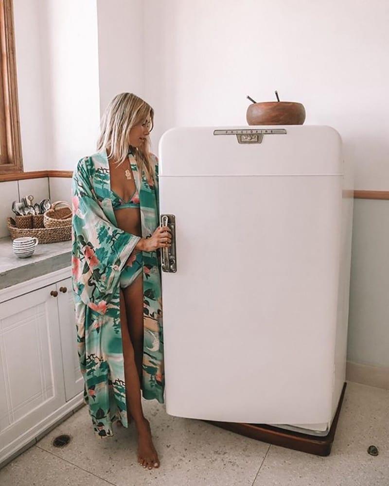 Fitshinling Print Floral Long Cardigan Swimwear Boho Flare Sleeve Sashes Summer Beach Cover Up Swimwear Holiday Big Size Output
