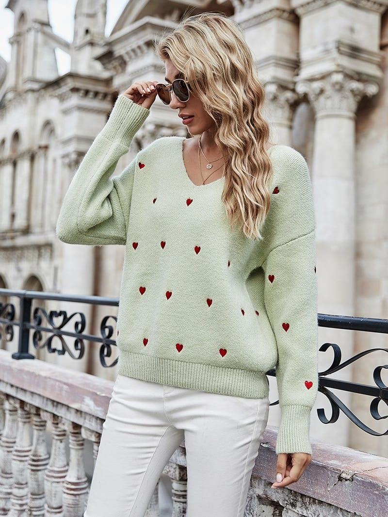 Fitshinling V Neck Embroidery Heart Sweater Women Pullover Knitwear Korean Style Kawaii Jumper Winter Casual Sweaters Tops Sale