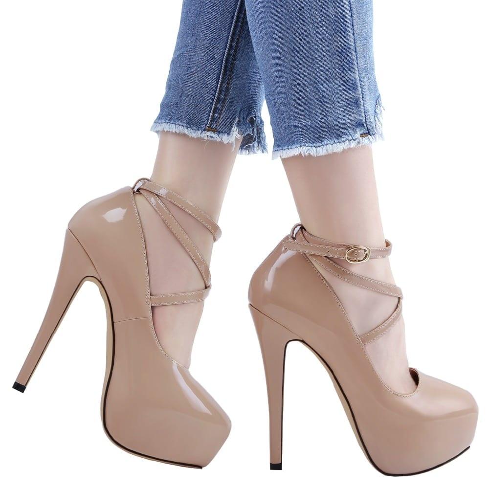 LOSLANDIFEN Women Pumps 14cm Super High heels for woman Sexy ankle Strap Platform shoes Party Dress Red Wedding Lady heel