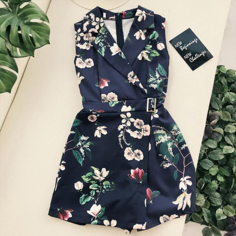 Summer Short Jumpsuit Women Pants 2021 Print Floral Vintage Wide Leg Trousers For Female Sexy Clubwear Party Rompers Playsuits
