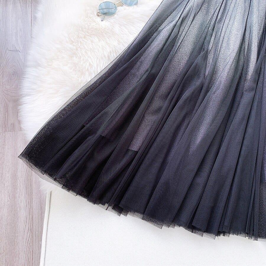 HLBCBG Maxi Tulle Skirt Women For 2020 Spring Summer Korean Ladies Blue Black Gradient High Waist Long Pleated Skirt Female