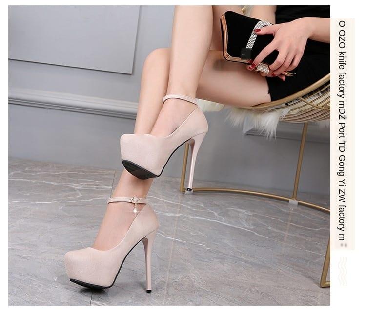 LTARTA 2021 Sexy Nightclub Waterproof Platform High Heel Women's Shoes Shallow Mouth Suede Round Toe Strap Single Shoes ZSH