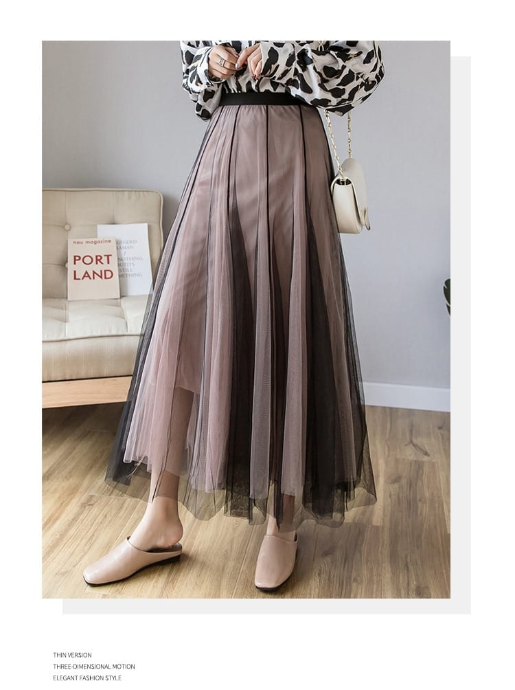 OHRYIYIE Maxi Long Tulle Skirt Women 2021 High Waist Ball Gown Skirts Summer Elastic Waist Adult Tutu Skirts Jupe Longue Femme