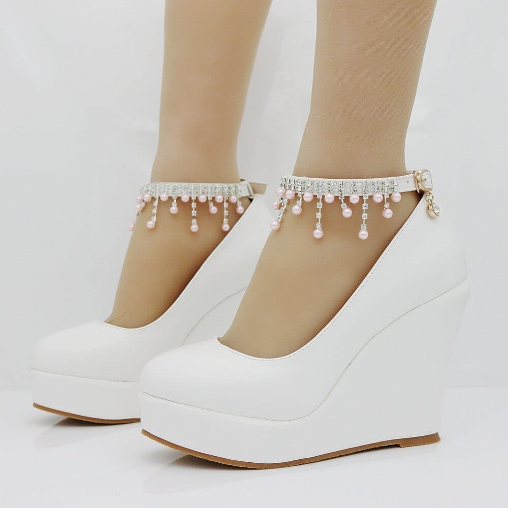 Crystal Queen Ankle Strap Platform Wedge Shoes Women Pump High Heels Sapato Feminino Dress Shoes